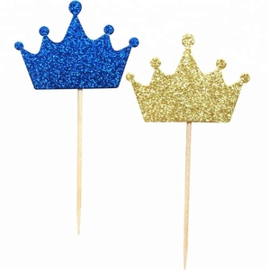XIAMEN STONE Blue Gold Royal Prince Crown Cupcake Topper Picks For Birthday Baby Shower Wedding Party Decoration Supplies