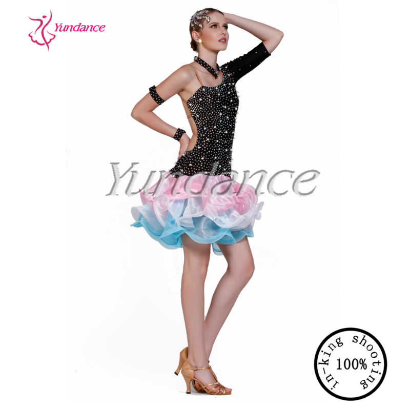 e6c35e5fdcf4 L-1333 Black And Pink Classic Dance Costumes, Ballroom Dresses For Women,  Stage Show Costume