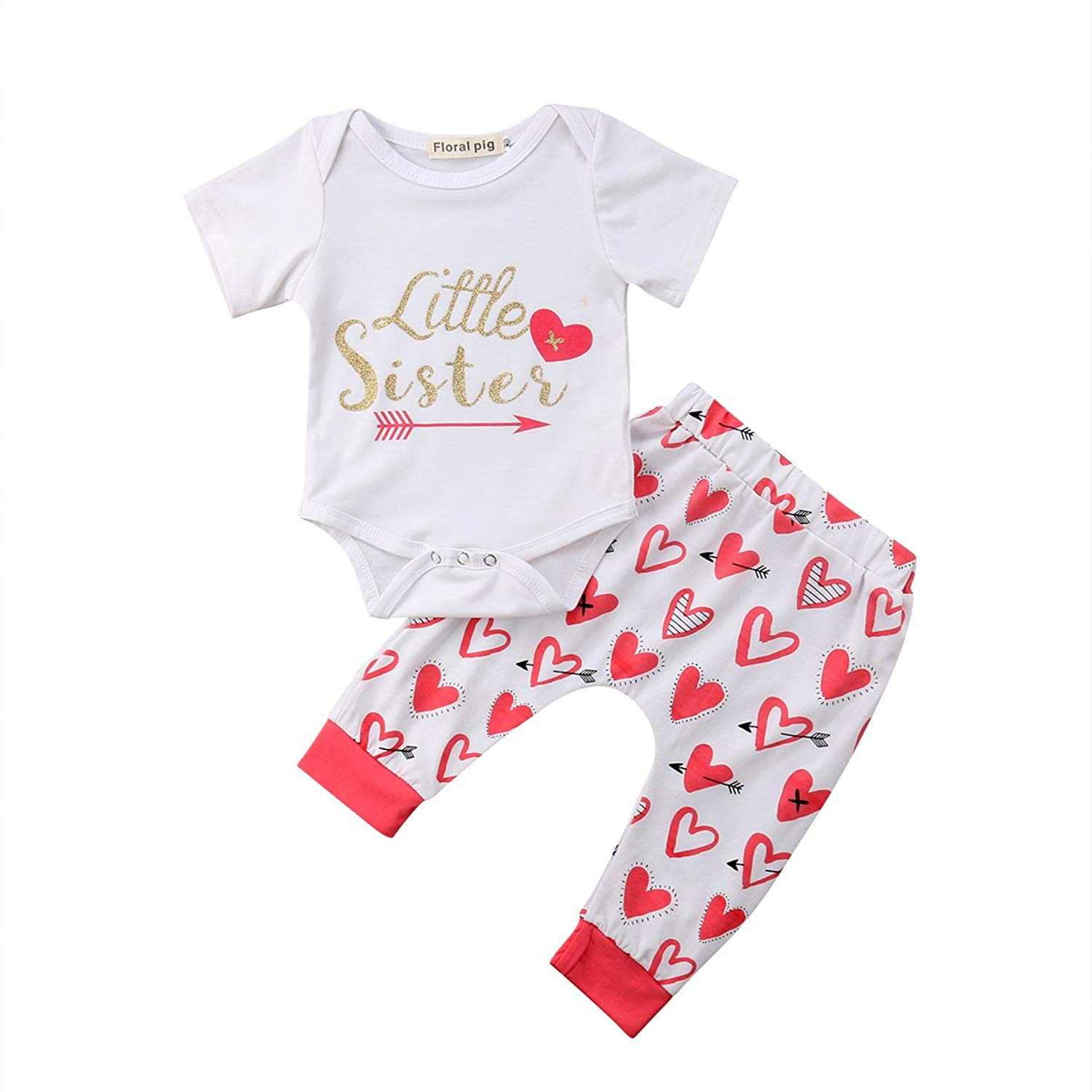1a899c7f706 Get Quotations · Biayxms Baby Girls Little Sister Bodysuit Romper + Arrow  Heart Pants Clothes Outfits