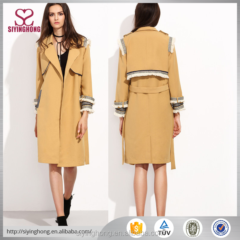latest coat designs for women layered wrap trench coat with embroidered tape detail