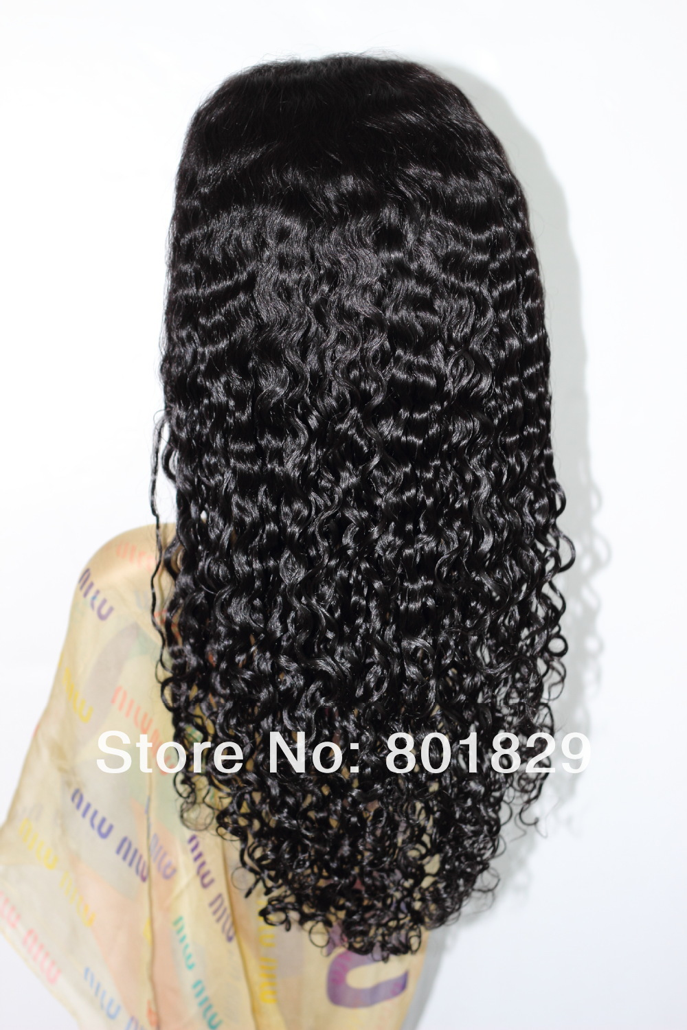 100% Chinese Virgin Hair Full Lace Wig, 1b# Color, water wave texture in stock
