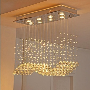 Golden Wave Design Glass Pendants For Chandelier
