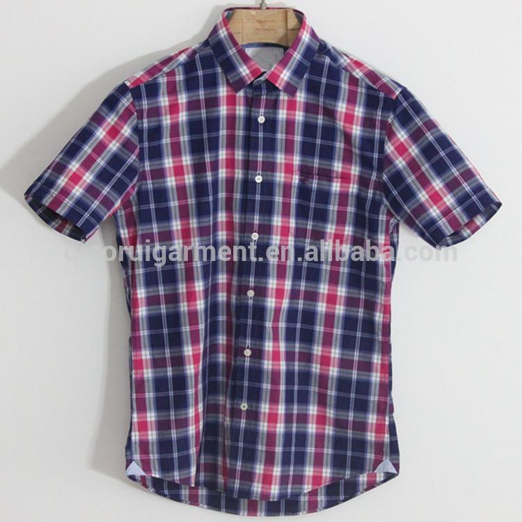 a0146b9b06698 de moda para hombre de manga corta de bush corte casual camisas de cuadros