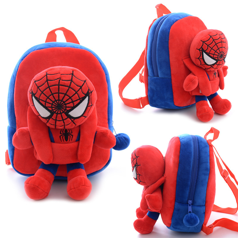 ae70b2e53639 Get Quotations · Cute Children Spiderman bags small plush bags cartoon  brand kids backpack Children s school bags for little