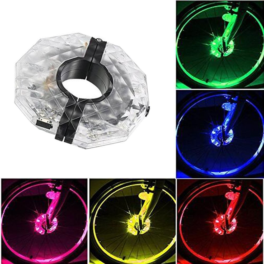 Bike Wheel Hub Lights,USB Rechargeable 7 LED Flash Spoke Lights and 3 Modes LED Cycling Lights Bicycle Waterproof Front Rear Spoke
