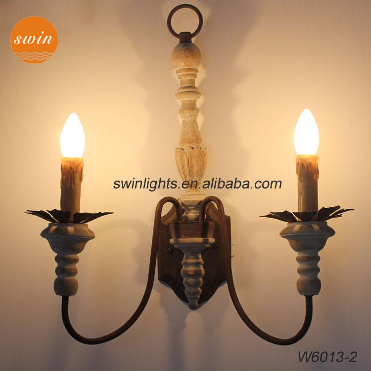 Retro Parijse Hout Gesneden Wandkandelaar,Vintage Dubbele Lampen ...