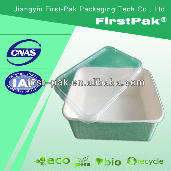 take away sugercane moulded pulp snack box deli box with lid