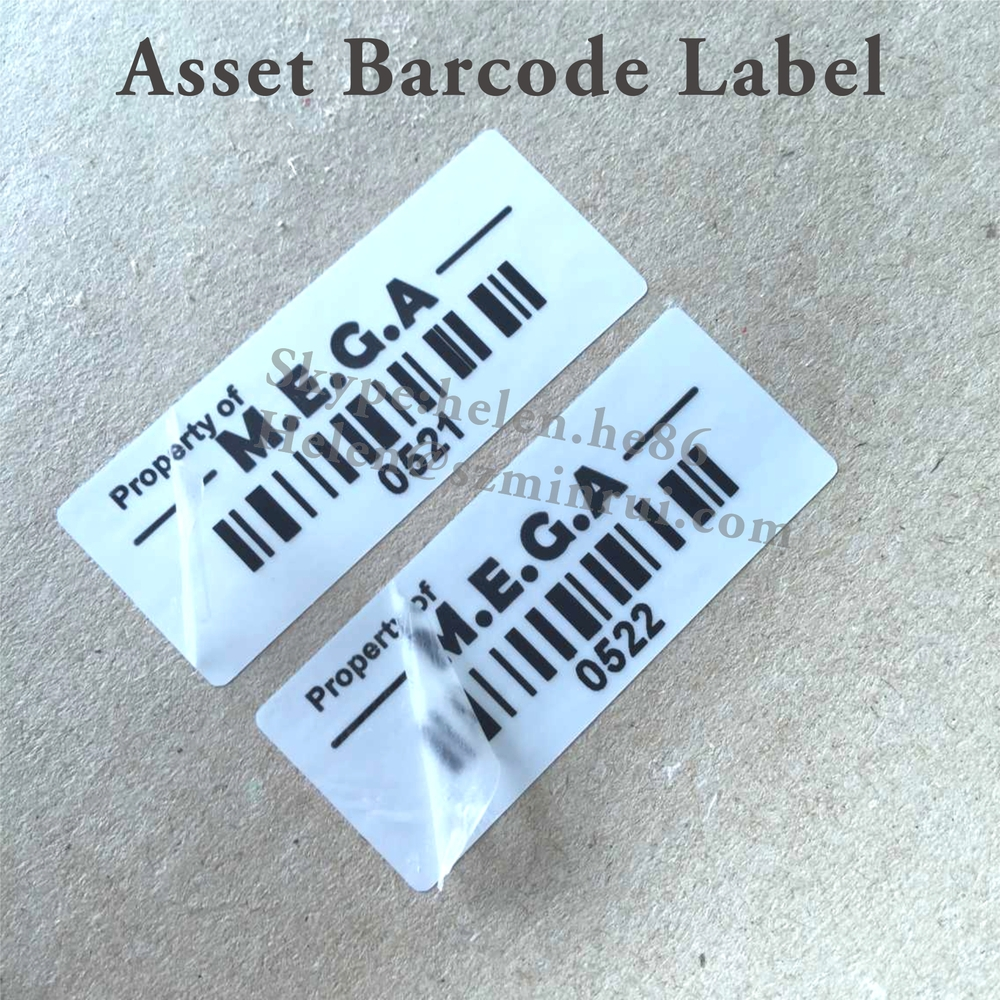 Custom personal property identification labels with company name and barcodesecurity destructible can not remove