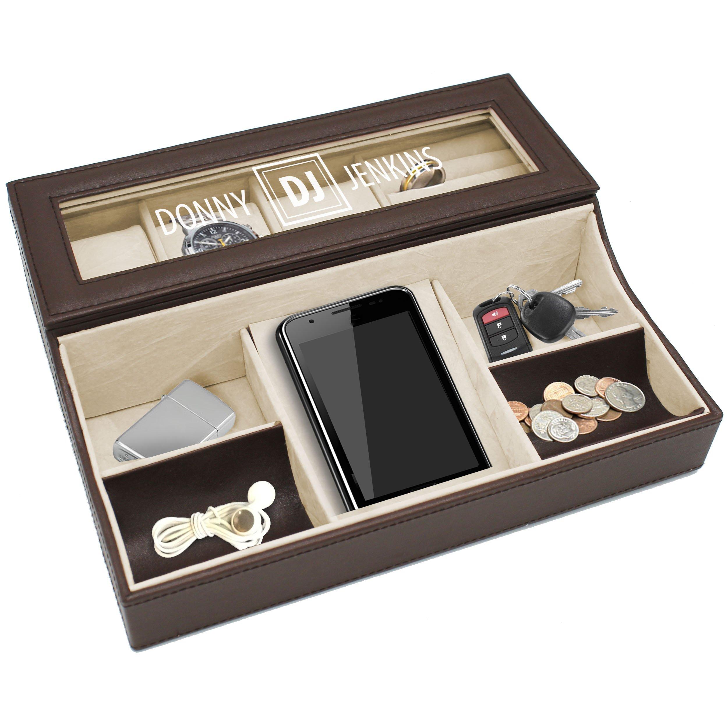 Personalized Leather Valet Tray Box Custom Monogrammed Mens Dresser Organizer Catchall