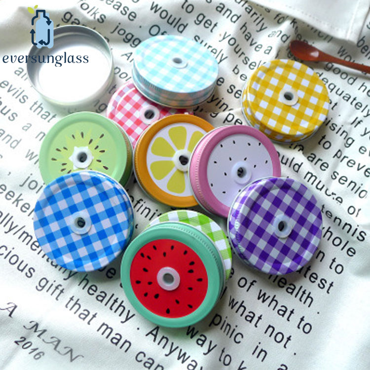 Wholesale 70mm Logo Painted Customized Mason Jar Lid With Hole