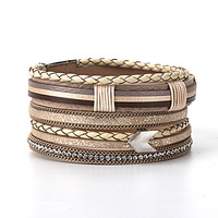 Charm jewelry peace mark woven adjustable austrian crystal leather multilayer bracelet magnetic