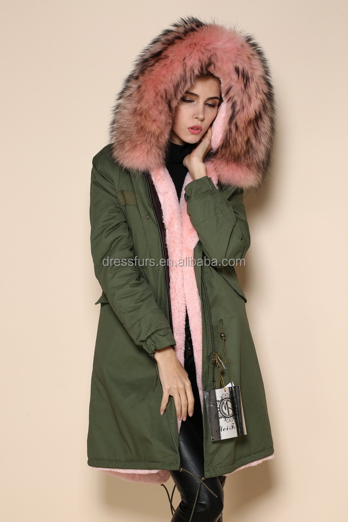leger jas met roze bont