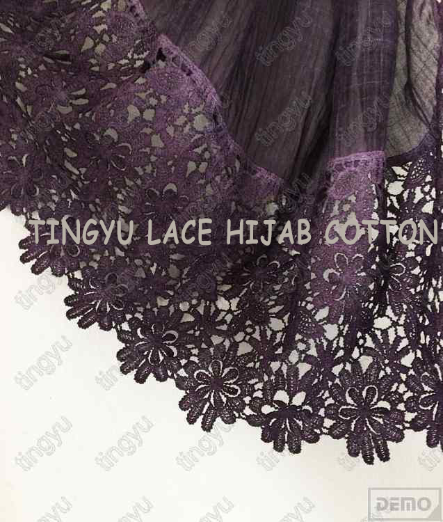 Popular charming good quality muslim style lace cotton wide hijab shawl scarf