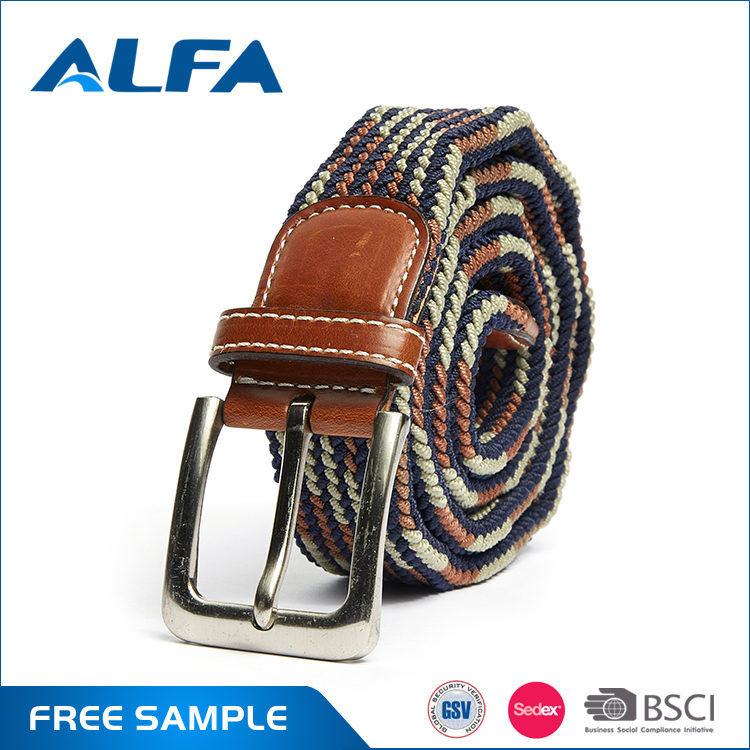 Alfa Wholesalers China Custom Design Brand Name Braided Elastic Mens Belts