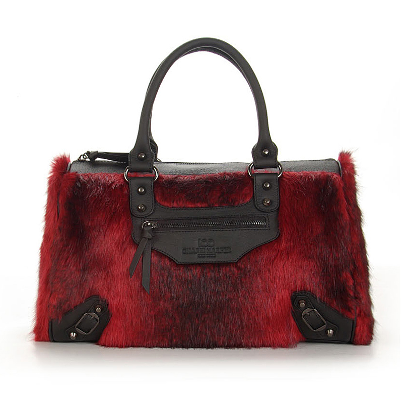 2016 design artificial fur real leather handbag ladies tote bag