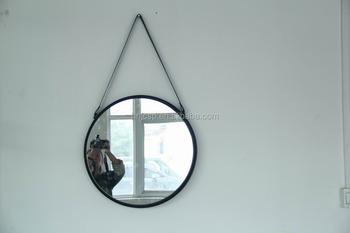 Ronde Spiegel Metaal : Ronde opknoping metalen frame muur decor spiegel met lederen band