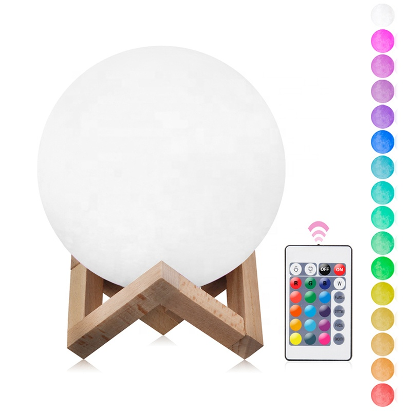15cm Home Decoration 16 Colors 3D Printing  LED Night Light Mini Moon Lamp