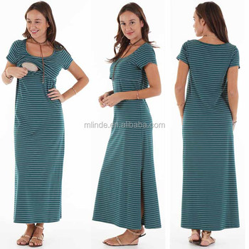 Maxi Dress Woman Green Stripe Scoop Neckline Short Sleeves Side Split Nursing Maxi Dress casual clothes for women