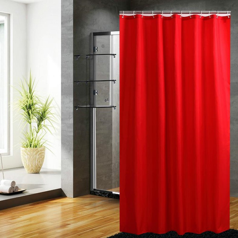 Fanjow Mildew Resistant Fabric Shower Curtain Water Repellent Bathroom Shower Curtain Solid Color Polyester Bath Curtain With 12 Hooks, Fashion Decorative Shower Curtain (72Wx72L, Red)