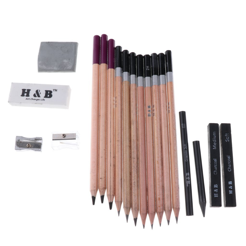 Baoblaze 28 Pieces Pencil Set Stationery Set Professional Sketching Drawing Pencils Kit Wood Pencils Sketch Sticks Erasers Sharpeners for Art Supplies School Students