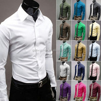 OEM New Luxury Mens Stylish Casual Dress Slim Fit Cotton T-Shirts Formal Long Sleeve Dress Shirt
