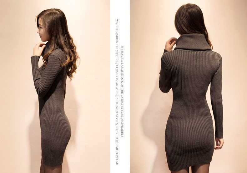 06cbf3059e Women Cowl Neck Knitting Pattern Tight Sweater Knitted Dress - Buy ...