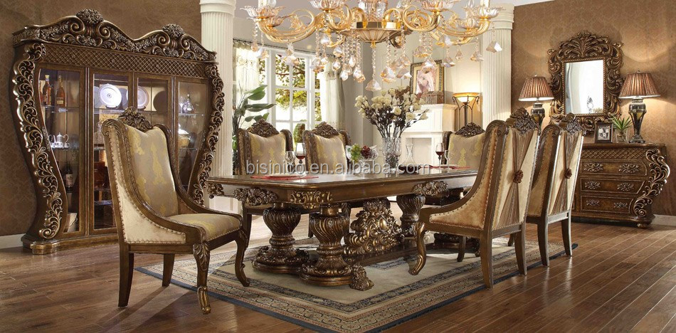 pure american classic luxury full solid wood cream color palace carving dining room furniture set