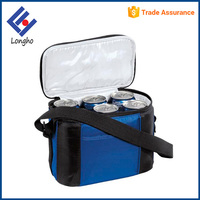 OEM product zipper top 6 pack can cooler bag easy carry nylon lunch bag