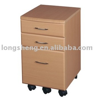 Movable And Flexible 3 Drawers Lateral Wood File Cabinet In Beech