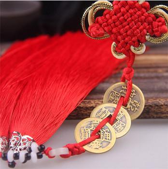 Alte 3 Kupfer Münzen Red Chinesischen Knoten Feng Shui Reichtum