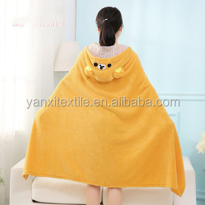Coral fleece cartoon couch potato rug homebody cape adult TV blanket