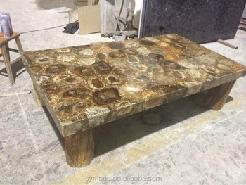 Polished Petrified Wood Round Table Marble Top For Decoration
