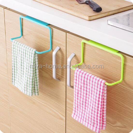 Hot selling Plastic bathroom Kitchen Cabinet Door Back accessory over Towel Bar Rack / Bar Hanging Holder Rail Organizer