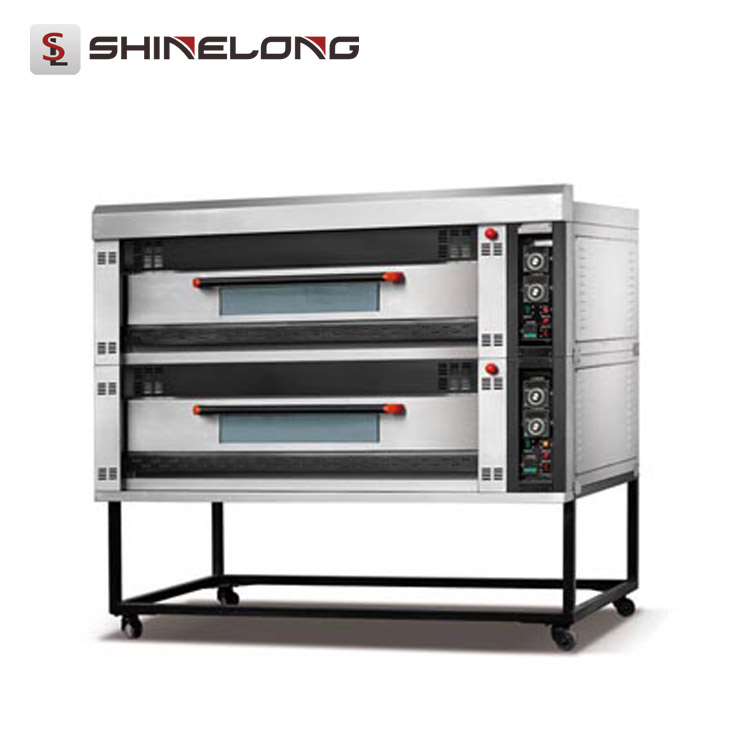 Commercial Electric Double Deck Oven Good Price /2-Layer 4-Tray Stone Deck Biscuit Oven