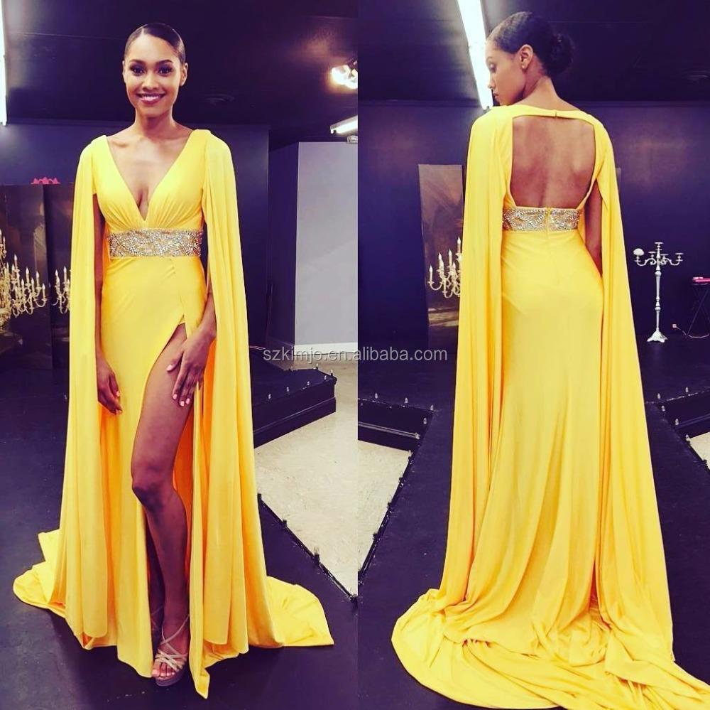 df75dba84fcb6b 2018 Kralen Afrikaanse Avondjurken Sexy Open Back Chiffon Geel Prom Jurken  Lange