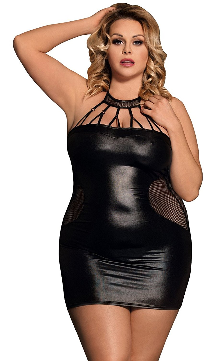 c86f71fd86b MarysGift Womens Ladies Sexy Wet Look PU Faux Leather Plus Size Teddy Bodysuit  Lingerie and G