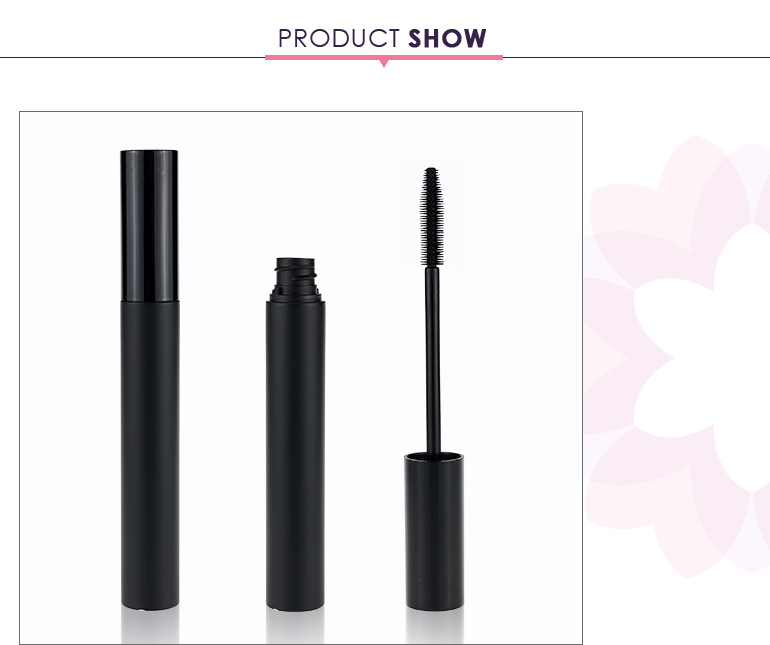 Custom round empty mascara tube cosmetic packaging with brush