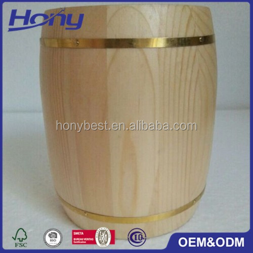 Unfinished Decorative Pine Wood Mini Coffee Barrels With Lid For