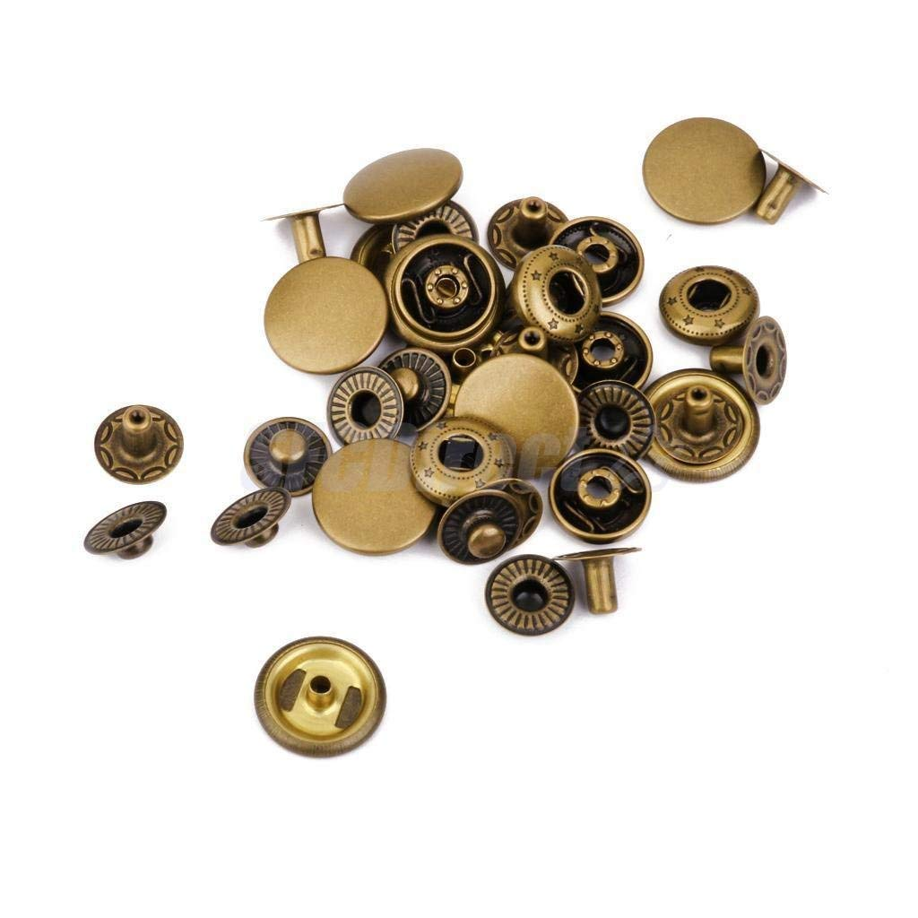 Heavy Duty Metal Snap Fasteners Press Studs Buttons Sewing Leather Craft Clothes Bronze