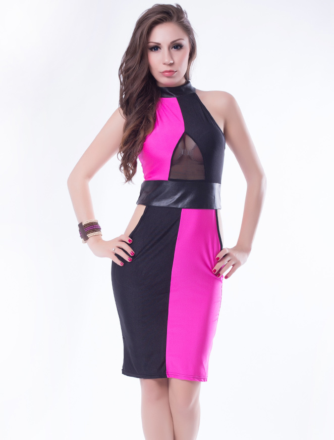 R7953 Multi color knee-length dress 2015 Mesh patchwork dress ohyeah Sexy hollow out dress multi color Ladies bandage dress