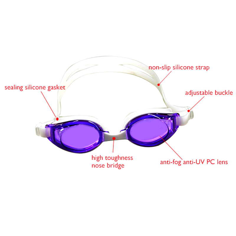 Cangzhou factory supply 100% anti-UV anti-fog silicone competitive swimming goggles swim goggle adjustable strap
