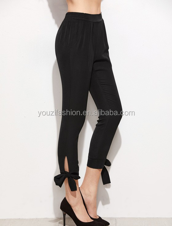 7dcab8f820 Black bow tie women fashion pencil pants with crop skinny ladies trouser  cutting for ladies new