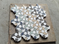 blue , green and yellow marble flower mosaic tile