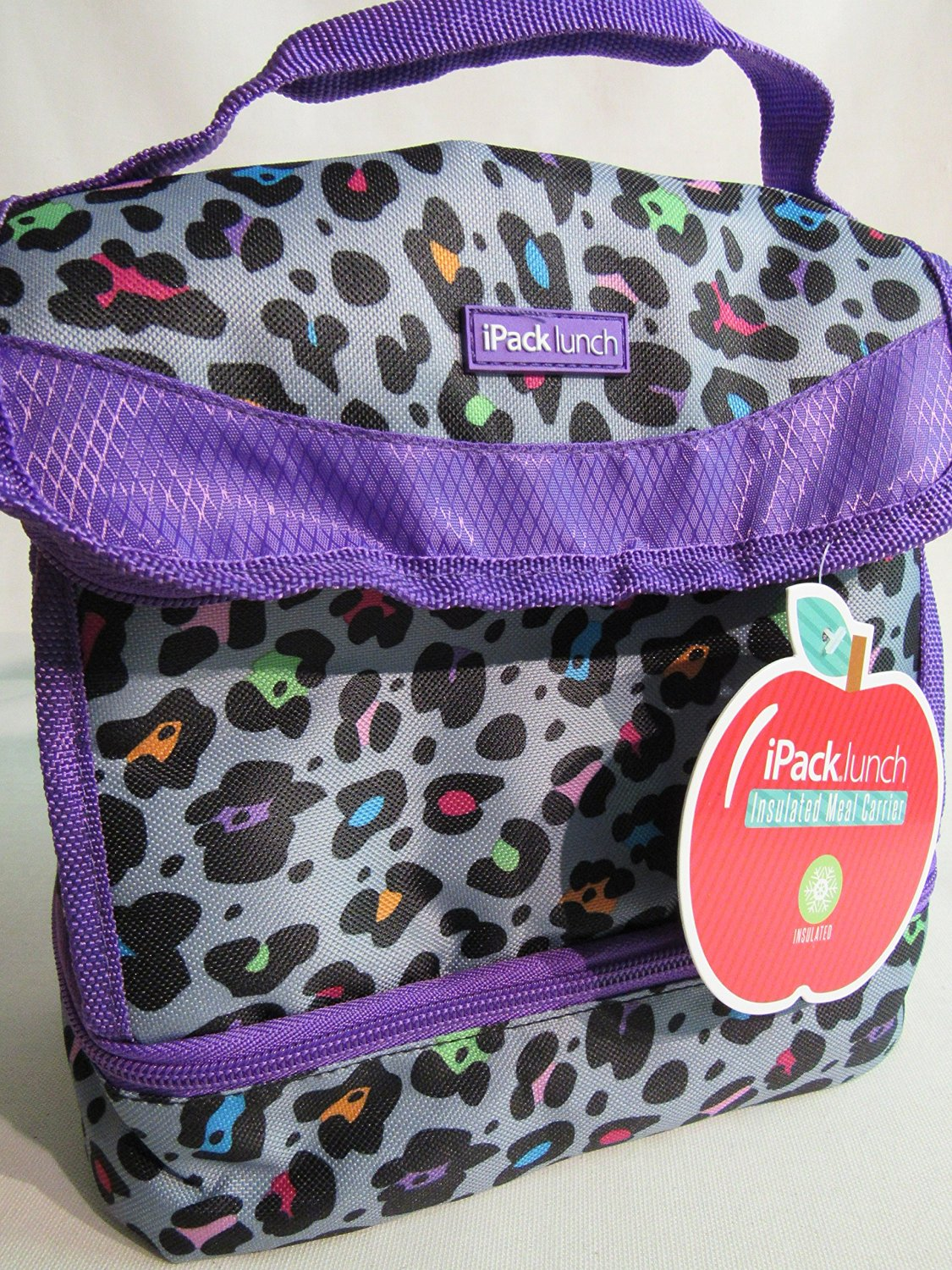 Ipack Lunch Insulated Meal Carrier 2 Compartment Bag Tote Purple Cheetah Print