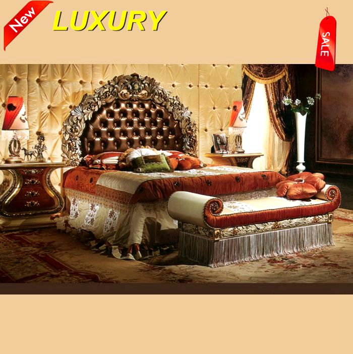Aa3 Fancy King Size Bed With Elaborate Wood Carving Bedroom Furniture Set Luxury