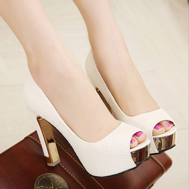 D16582A 2015 trend sexy leather ladies white high heel shoes ,alibaba shoes