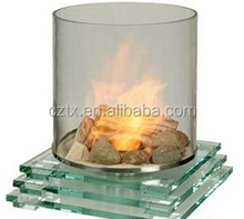 4mm-5mm with artistic curved ceramic fireplace tempered glass
