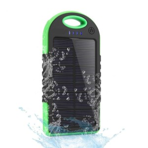 5000mAh Universal Three anti silicon Solar Power Bank LED Solar waterproof Battery Charger