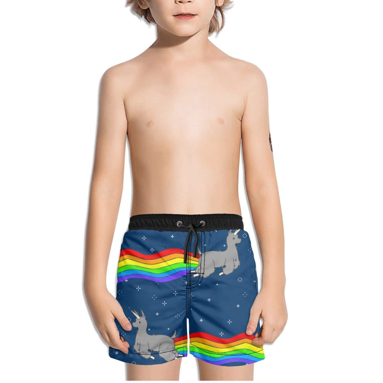 5ea0c11f60 Get Quotations · FullBo Rainbow Llama Unicorn Little Boy's Short Swim  Trunks Quick Dry Beach Shorts