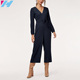 Women Autumn High Waisted Wide Leg Black Loose Formal Jumpsuit and Rompers